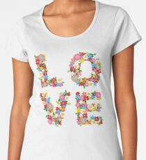 LOVE Spring Flowers in Red Women's Premium T-Shirt