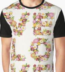 LOVE Spring Flowers in Pink Graphic T-Shirt