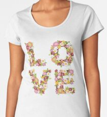 LOVE Spring Flowers in Pink Women's Premium T-Shirt
