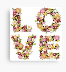 LOVE Spring Flowers in Pink Canvas Print