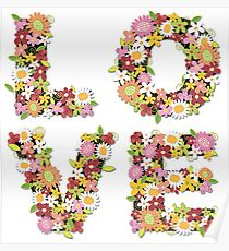LOVE Spring Flowers in Pink Poster