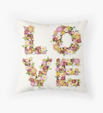 LOVE Spring Flowers in Pink Throw Pillow