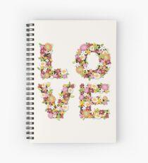 LOVE Spring Flowers in Pink Spiral Notebook
