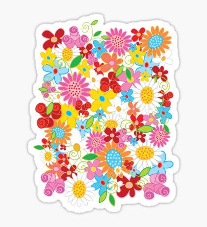 Whimsical Spring Flowers Power Garden II Sticker