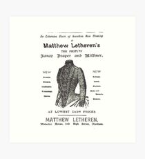 Vintage Matthew Letheren's Advert Art Print