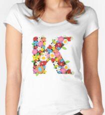 Spring Flowers Alphabet K Monogram Women's Fitted Scoop T-Shirt