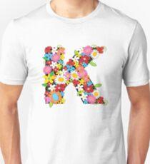 Spring Flowers Alphabet K Monogram Unisex T-Shirt