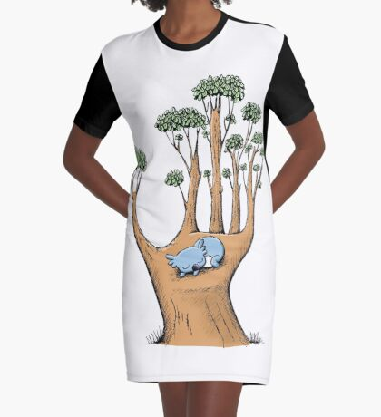 Tree Hand with Cute Sleepy Koala Graphic T-Shirt Dress