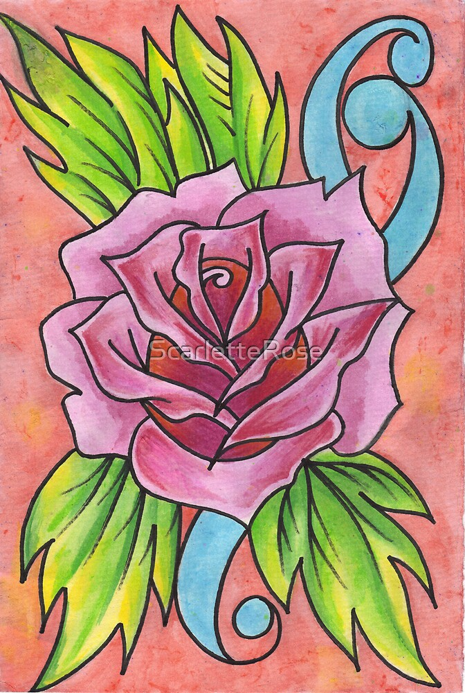 Old school rose tatoo by ScarletteRose