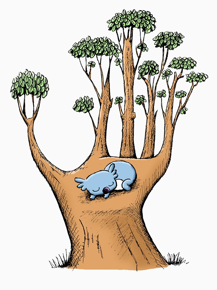 Tree Hand with Cute Sleepy Koala by eddcross