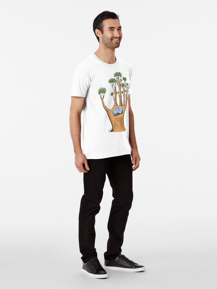 Alternate view of Tree Hand with Cute Sleepy Koala Premium T-Shirt