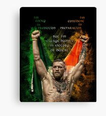 Notorious Conor McGregor holding up the Irish flag Canvas Print