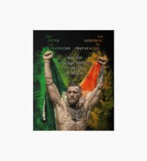 Notorious Conor McGregor holding up the Irish flag Art Board