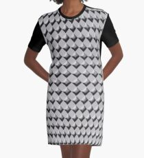 3D - 3D diamond - diamond - Black and White Graphic T-Shirt Dress