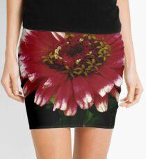 White-tipped pink zinnia flower Mini Skirt