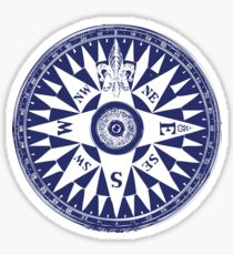 Nautical Compass | Navy Blue and White Sticker