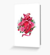 Watercolor heart with floral design Greeting Card