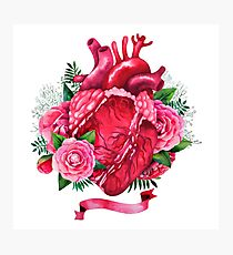 Watercolor heart with floral design Photographic Print