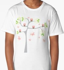 Whimsical Pink Cupcakes Tree II Long T-Shirt