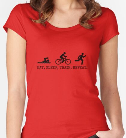 Eat, Sleep, Train, Repeat. Women's Fitted Scoop T-Shirt
