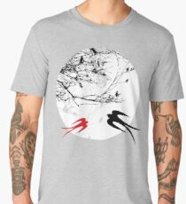 Oriental Swallows In Moonlight  Men's Premium T-Shirt