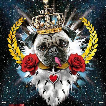 Pug Pug King Queen Royal Crown Crown T-Shirt by Margarita-Art