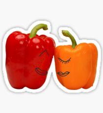 Funny enamored sweet peppers Sticker