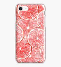 Watercolor grapefruit slices pattern iPhone Case/Skin