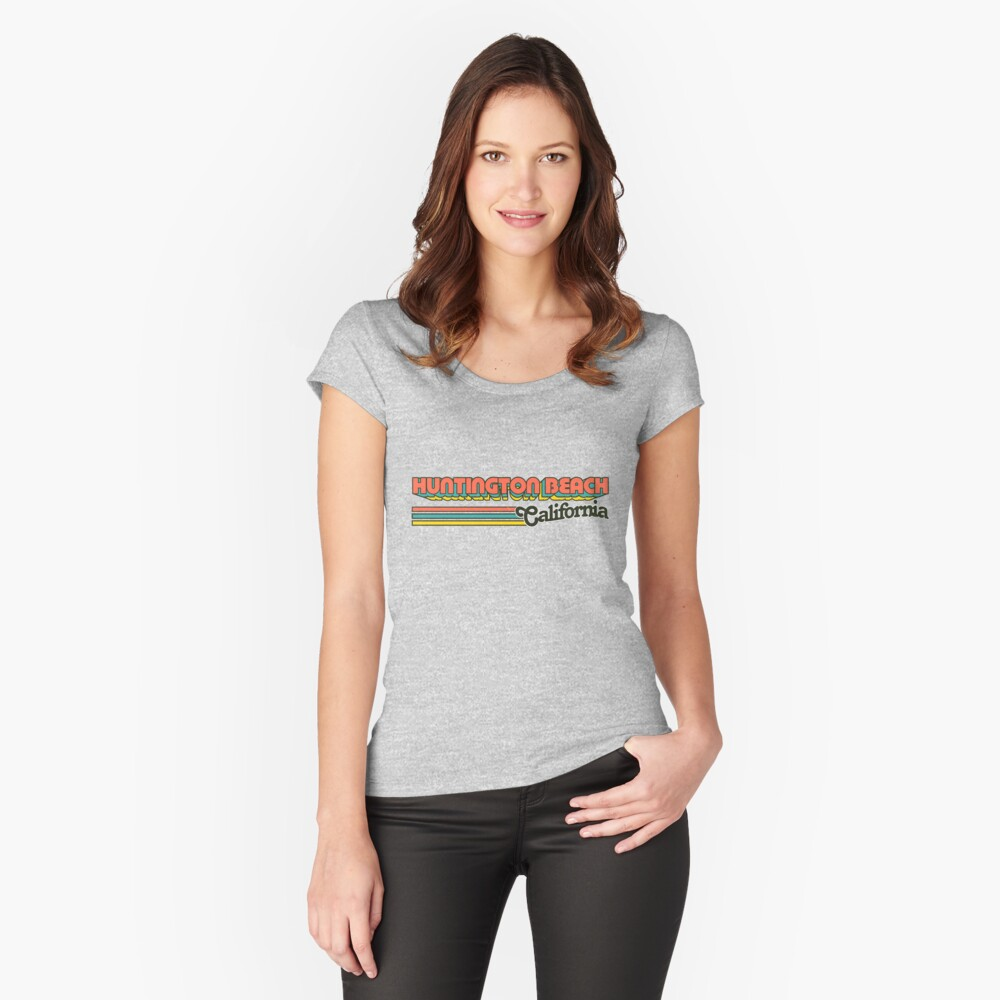Huntington Beach, CA | City Stripes Women's Fitted Scoop T-Shirt Front