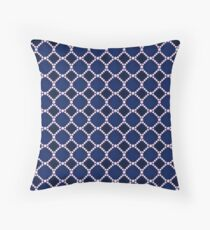 Luxury background with pearls. Silk satin. Deep blue. Throw Pillow