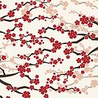 Red Oriental Cherry Blossoms | Zen Japanese Sakura Flowers by fatfatin