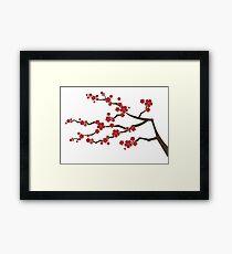 Red Oriental Cherry Blossoms | Zen Japanese Sakura Flowers Framed Print