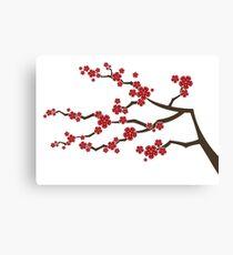 Red Oriental Cherry Blossoms | Zen Japanese Sakura Flowers Canvas Print