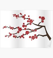 Red Oriental Cherry Blossoms | Zen Japanese Sakura Flowers Poster