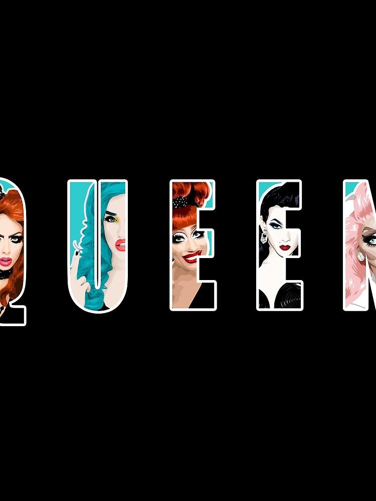 RuPauls Drag Race Queens, ft. Bianca Del Rio, Adé Delano, Alyssa Edwards, Violet Chachki und Trixie Mattel von vixxitees