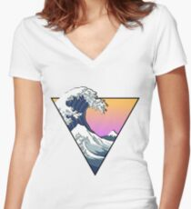 Great Wave Aesthetic Women's Fitted V-Neck T-Shirt