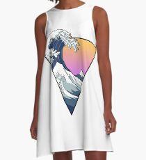 Große Wellenästhetik A-Linien Kleid