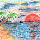 2204 - Palmtree Beach Ocean Sunset with Dolphins by tigerthilo