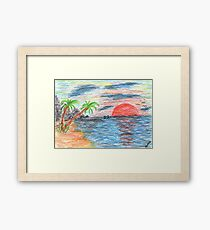 2204 - Palmtree Beach Ocean Sunset with Dolphins Framed Print
