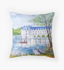 Chateau Chenonceau watercolor painting Throw Pillow