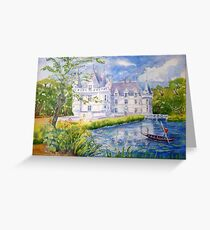 Chateau Azay le Rideau watercolor painting Greeting Card