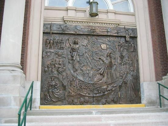Bronze doors at St Hyancinth Basilica, Chicago, Illinois by chord0