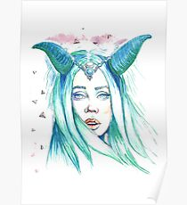 Feel Connection surreal portrait queen with the horns Poster