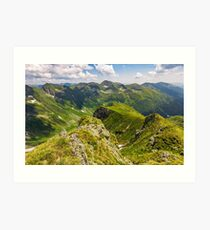 valley in romanian mountains view from the edge above Art Print