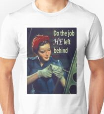 ww2 propaganda poster, women worker in war, vintage poster T-Shirt