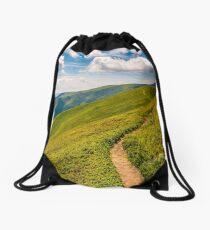 footpath through the mountain ridge Drawstring Bag