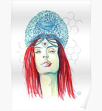 Bubble queen portrait girl with bubble crown Poster