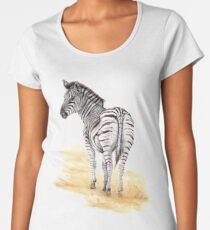 Zebra Watercolor Women's Premium T-Shirt