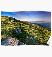 hillside with boulders in Carpathian mountains in summer Poster