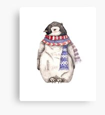Baby Penguin in a Festive Scarf Metal Print